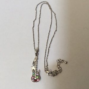 Free People silver tone guitar pendant necklace